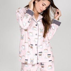 *PJ Salvage Rise & Grind Coffee Flannel Pajama Set